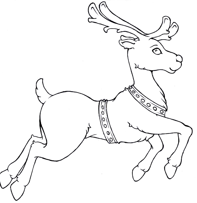781x807 Christmas Reindeer Flying Coloring Pages