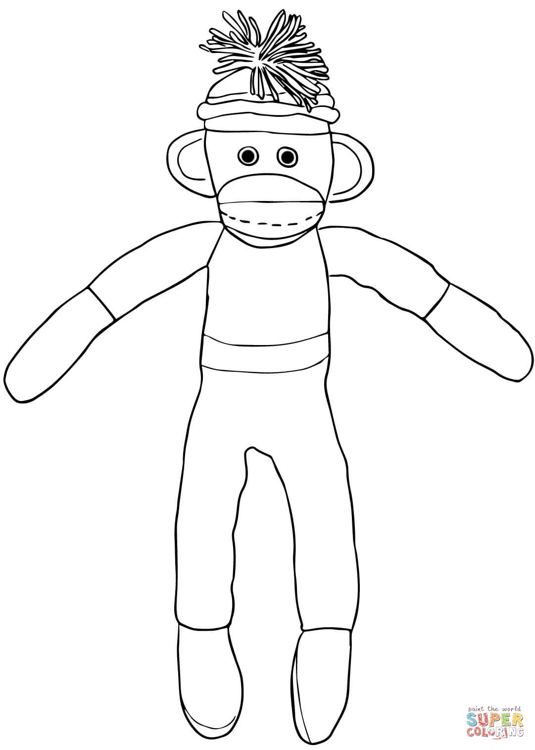 1081x1515 Christmas Sock Monkey Coloring Page For Pages