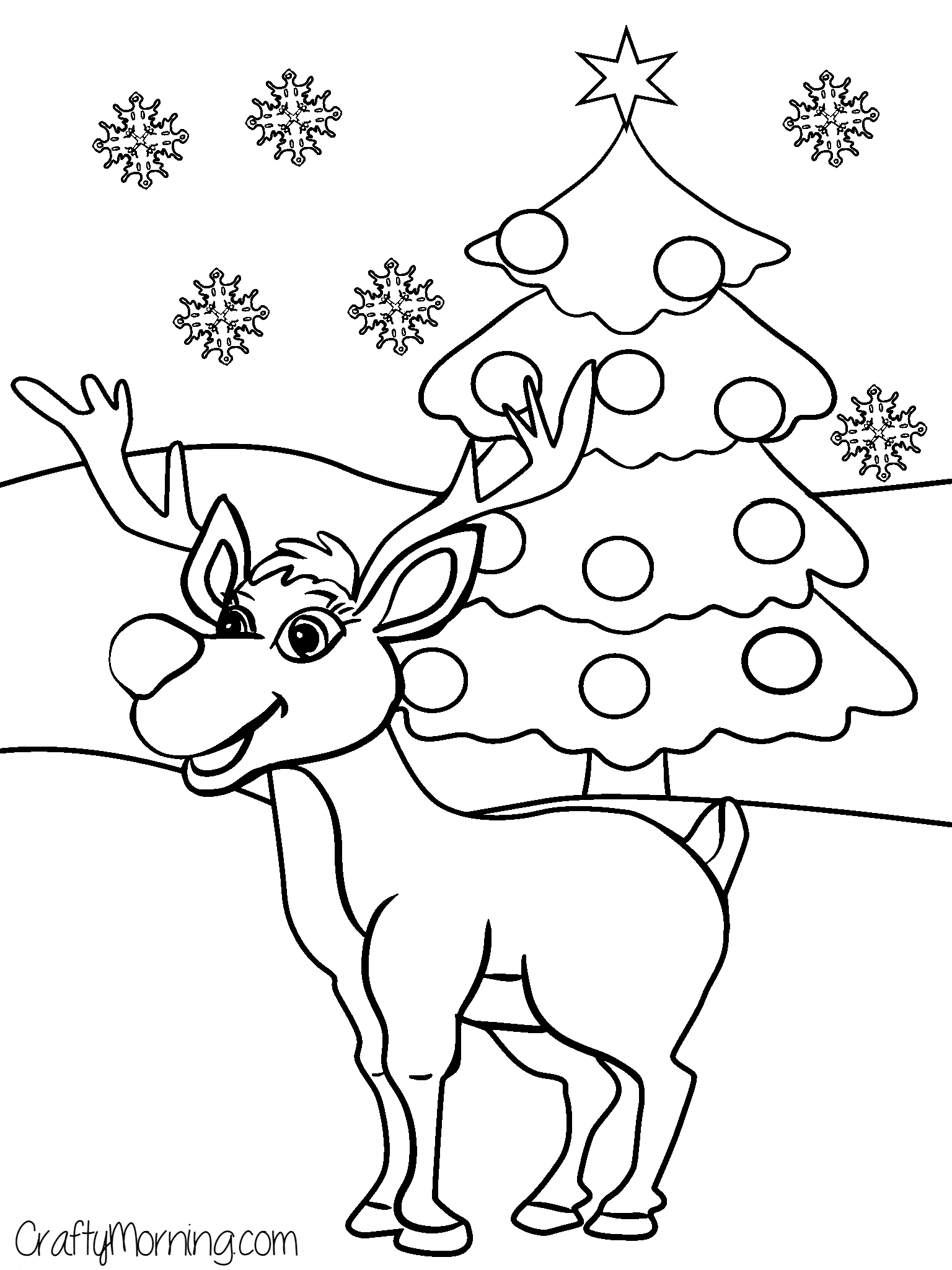 1536x2048 Christmas Tree Reindeer Coloring Pages Gallery Coloring For Kids