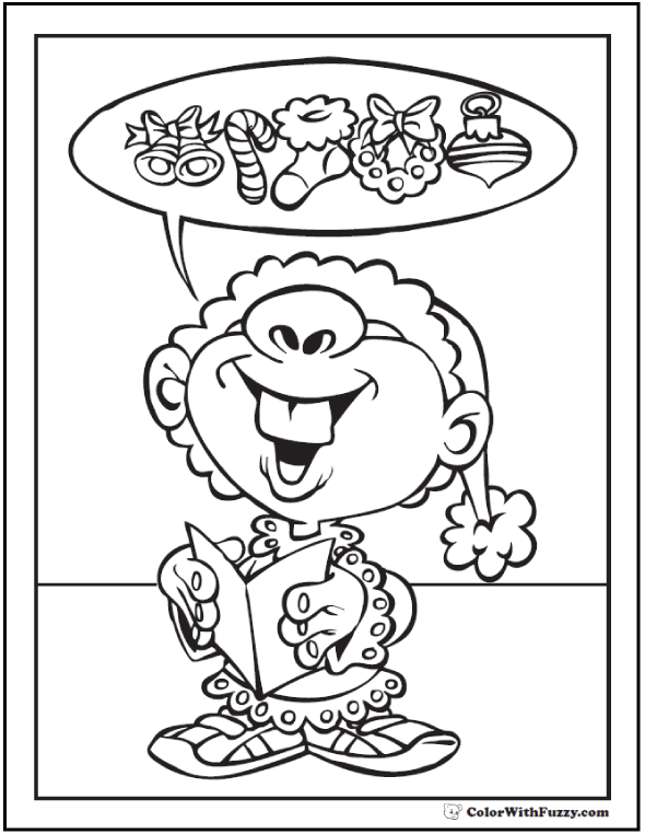 Christmas Elf Coloring Pages Printable