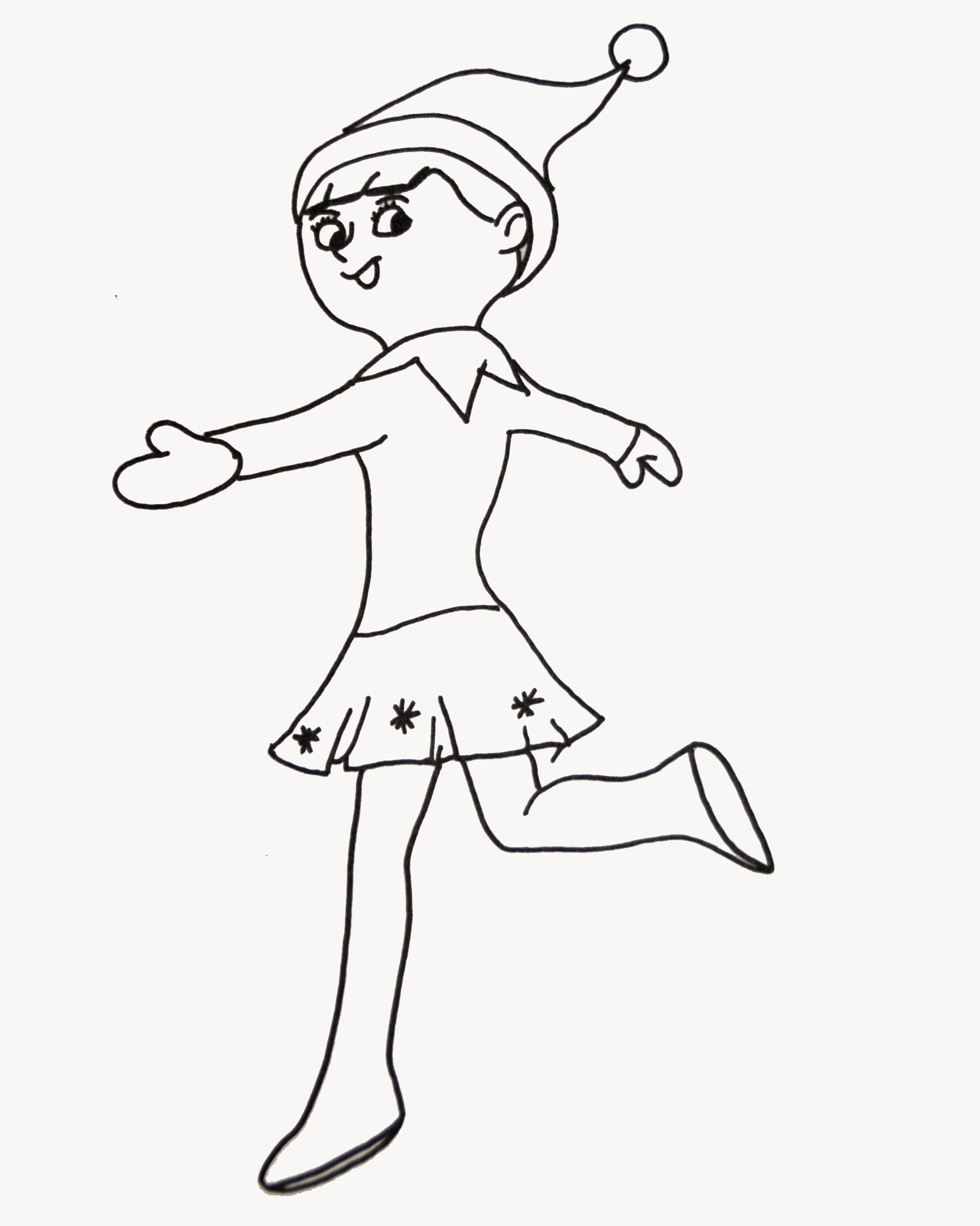 Christmas Elf Coloring Pages Printable At Getdrawings Com Free For