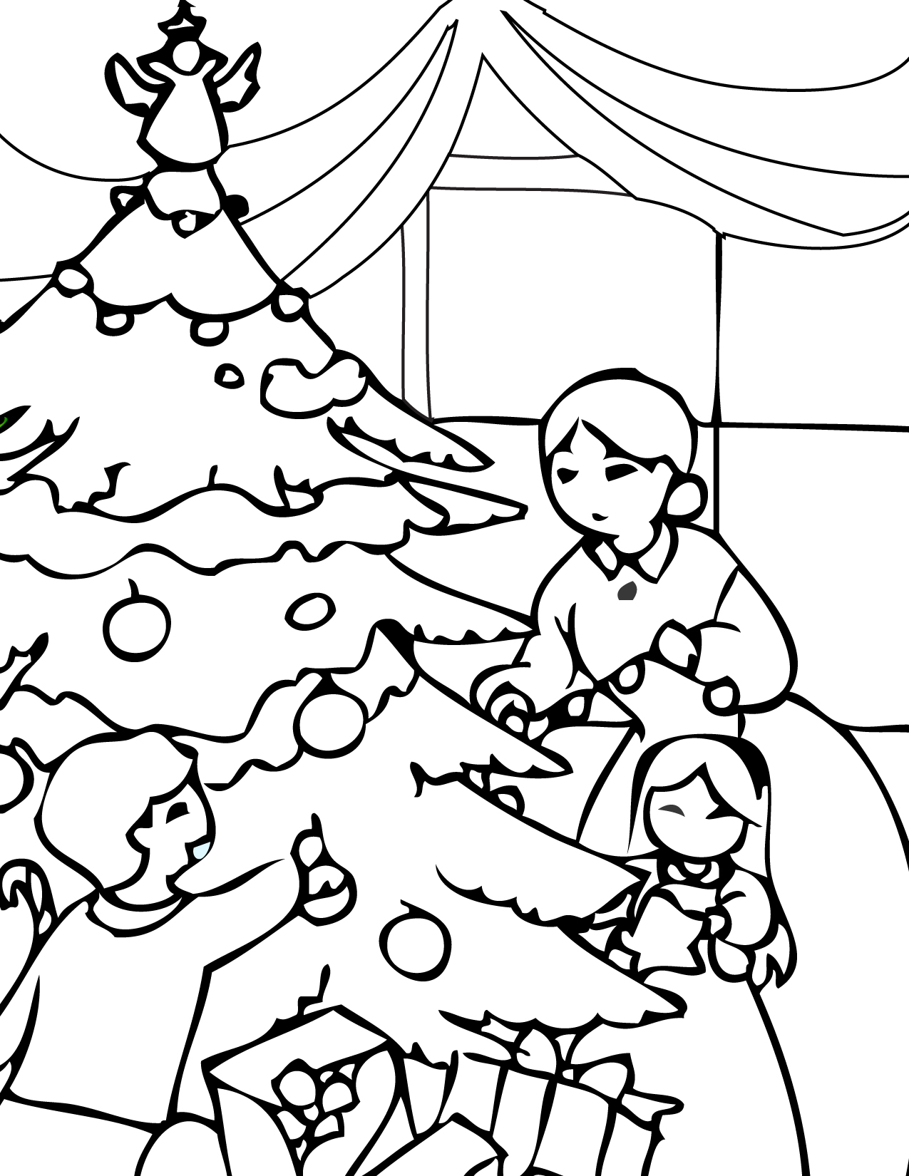 1275x1650 Christmas Family Free Coloring Page Christmas, Holidays Coloring