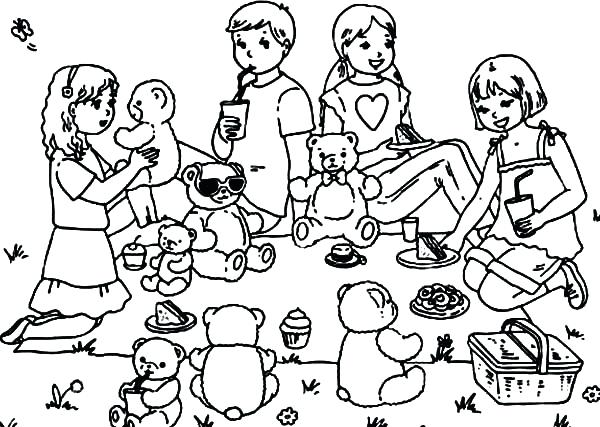 600x427 Coloring Pages Online Christmas Family Picnic Celebration