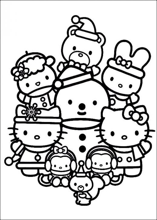 518x725 Happy Family Of Hello Kitty Celebrating Christmas Coloring Pages