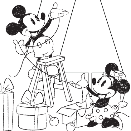 420x420 Mickey Minnie Christmas Coloring Page Disney Family