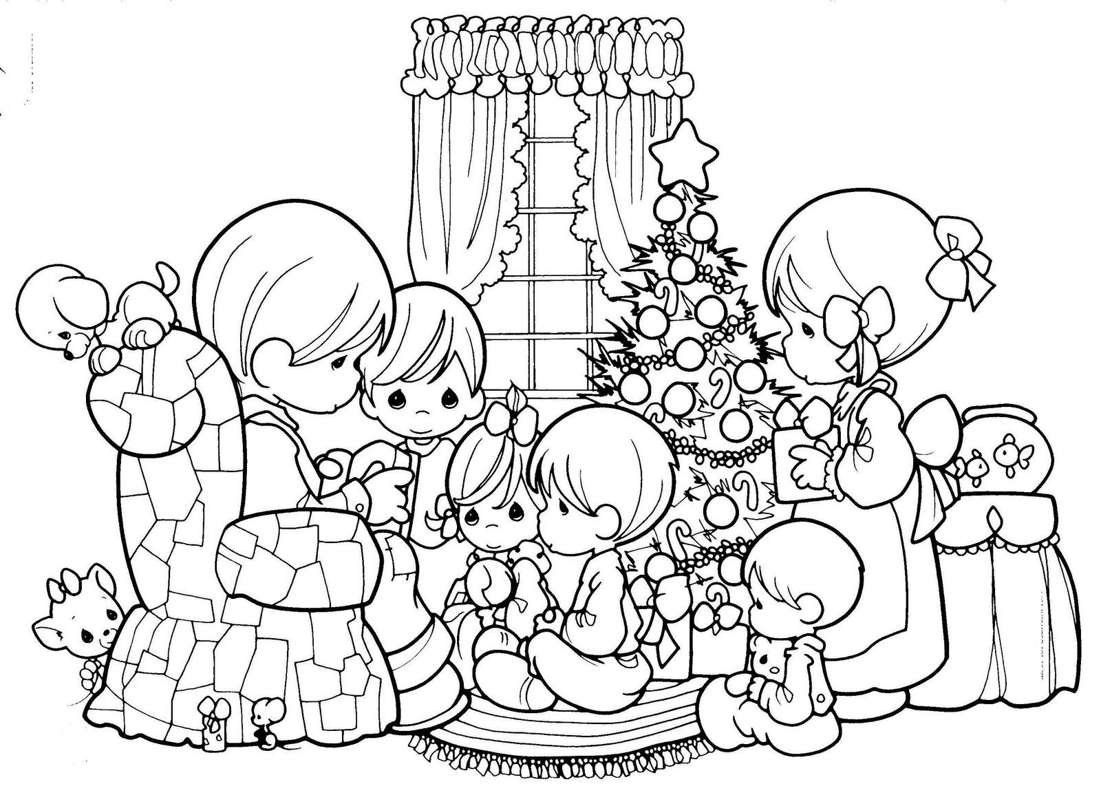 1600x1155 Precious Moments Family Christmas Scene Coloring Sheet Christmas
