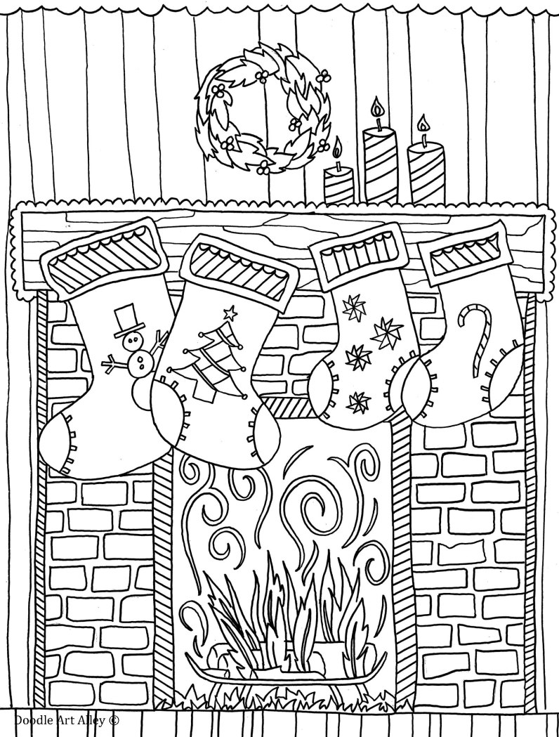 796x1049 Fireplace Coloring Pages Embroidery, Adult