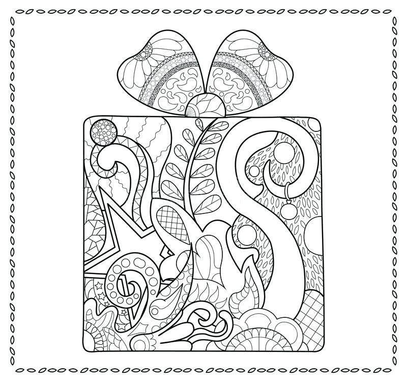 800x750 Christmas Gift Coloring Page Tree With Presents Coloring Pages