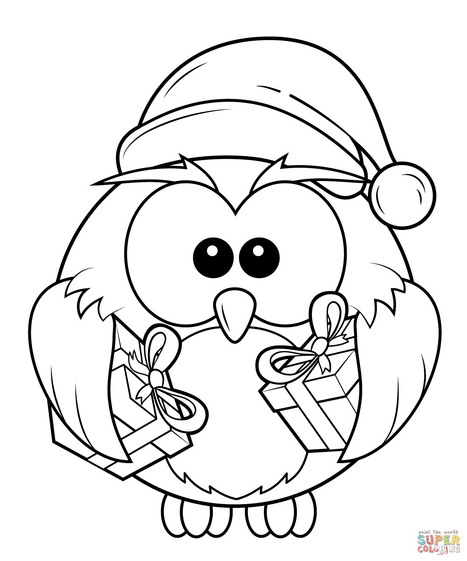 1584x1903 Christmas Owl With Gift Boxes Coloring Page At Coloring Pages