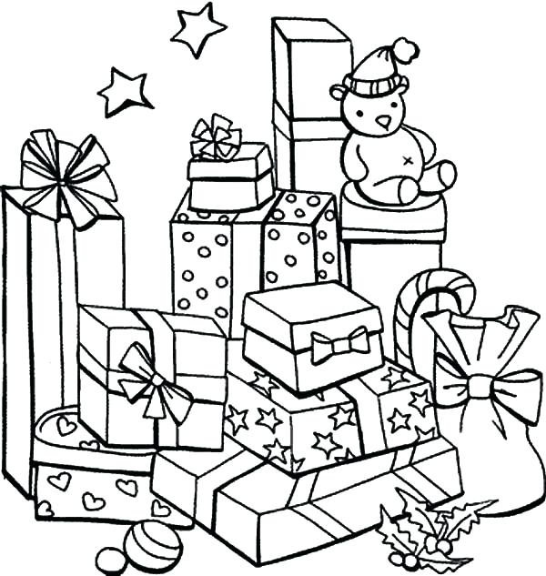 600x633 Christmas Coloring Pages Presents Christmas Gift Coloring Page