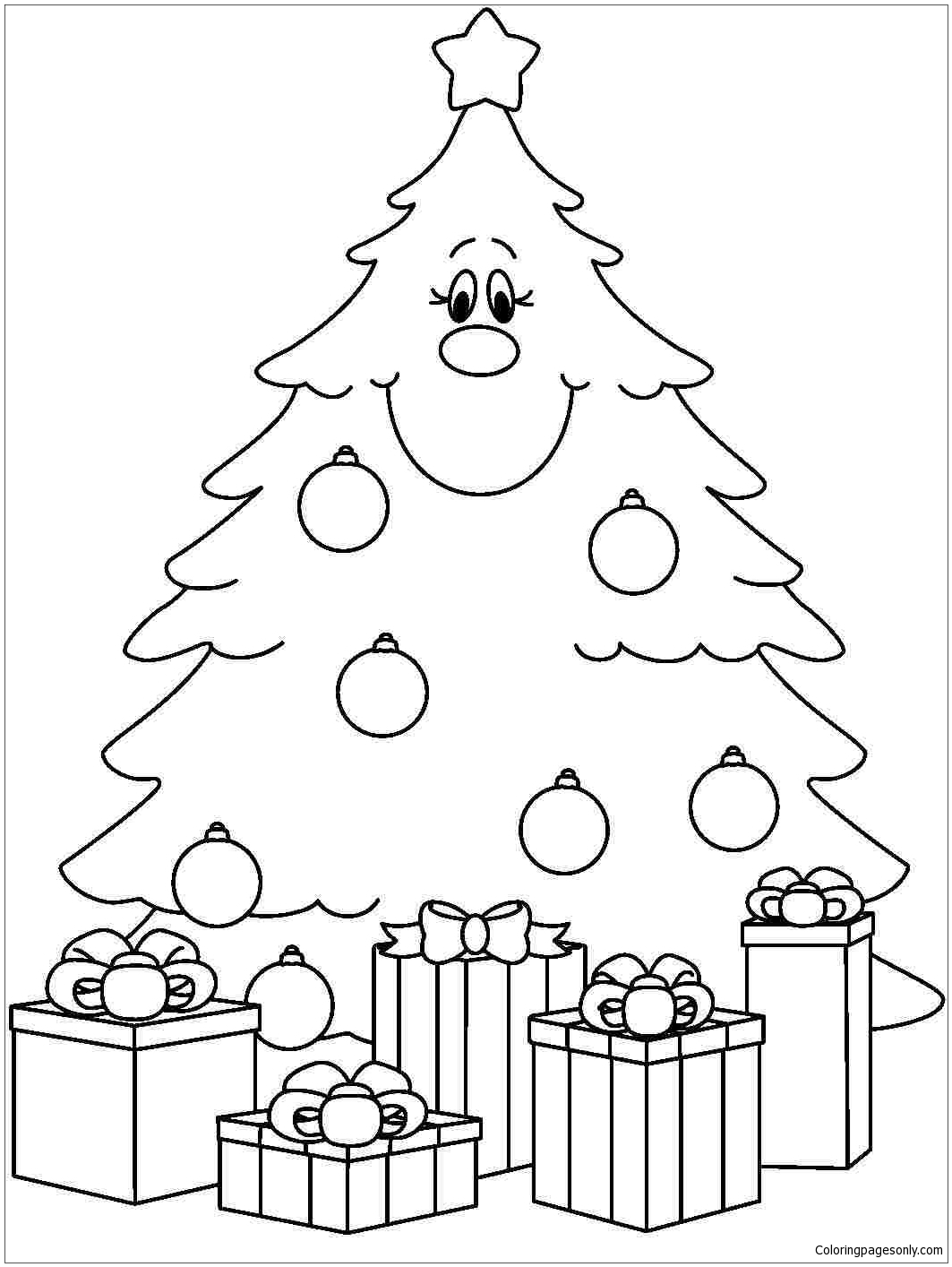 1063x1414 Printable Christmas Tree With Presents Coloring Page Free