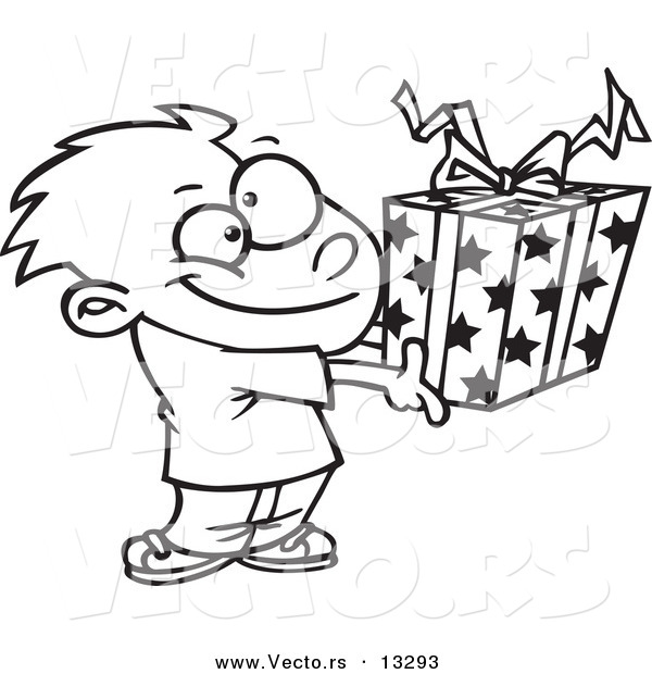 600x620 Vector Of A Cartoon Boy Holding A Gift Box