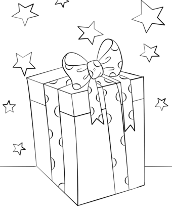 340x425 Gift Box Coloring Page Christmas Gift Box Coloring Page Free
