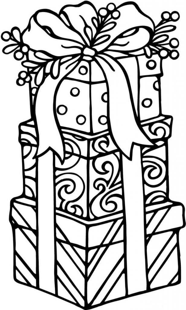616x1024 Gift Box Coloring Page Coloring Pages Of Christmas Presents Best