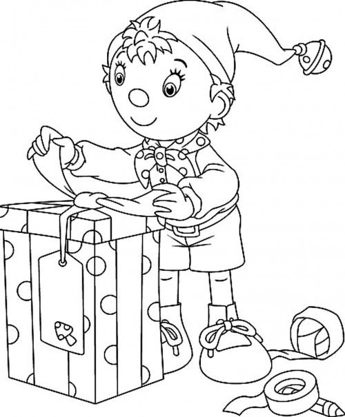 500x605 Christmas Elves Who Got The Big Box Coloring Page Sketchesdigis