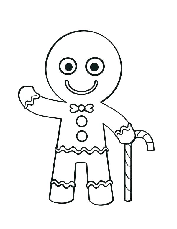 600x776 Gingerbread Man Color Page Free Gingerbread Coloring Pages Cute