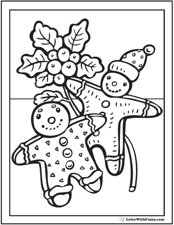 590x762 Gingerbread Men Coloring Page
