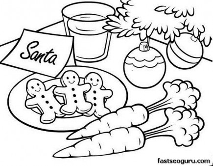 435x338 Printable Christmas Gingerbread Cookies For Santa Coloring Pages
