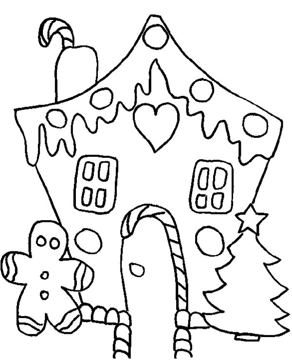600x739 White Christmas Gingerbread House Coloring Page
