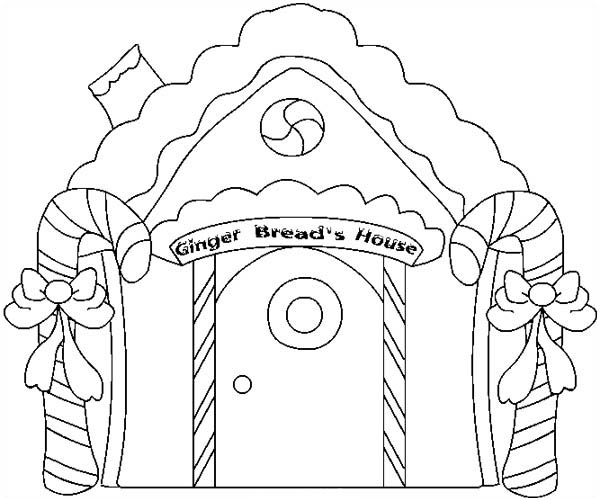 600x501 Christmas Gingerbread House And Two Sweet Candy Cane Coloring Page