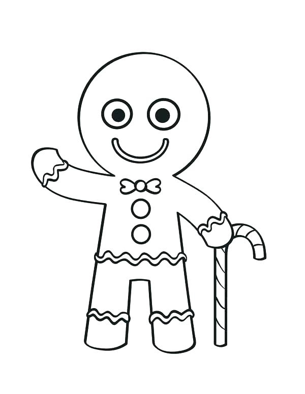 600x776 Christmas Gingerbread Man Coloring Pages Free Gingerbread Coloring