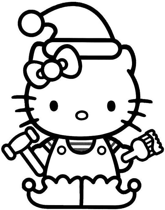 540x687 Hello Kitty Christmas Hat Coloring For Kids