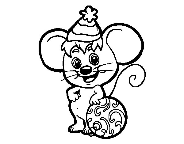 600x470 Mouse With Christmas Hat Coloring Page