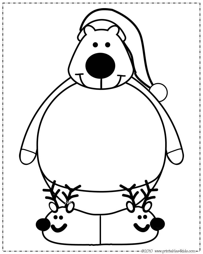 800x1000 Print And Color Polar Bear Santa Hat Printables For Kids Free