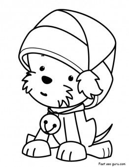 262x338 Printable Christmas Puppy With Santa Claus Hat Coloring Pages