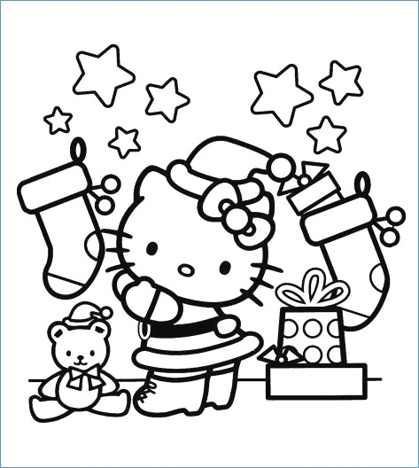 473x528 Hello Kitty On Snow Christmas Holiday Coloring Page