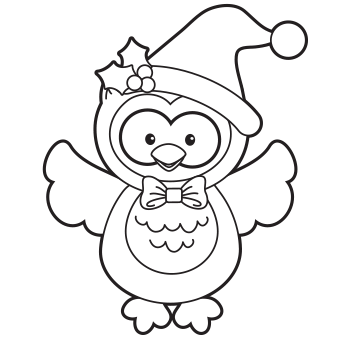 340x340 Holiday Owl Coloring Page
