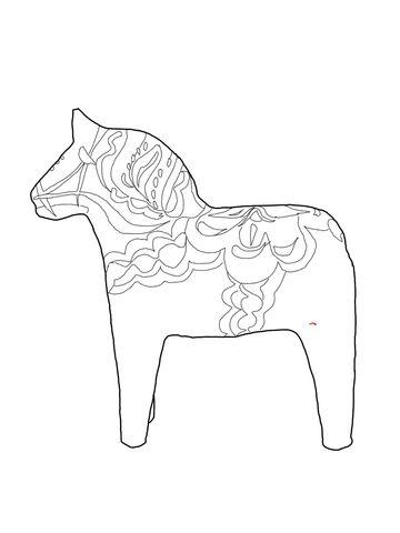 360x480 Swedish Dala Horse Coloring Page Christmas