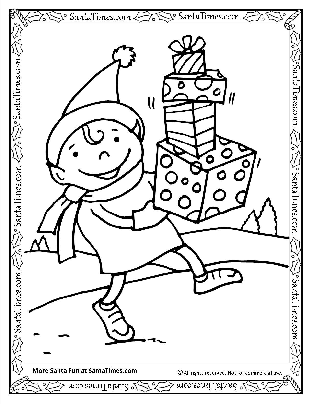 1275x1650 Santa's Elf Printable Coloring Page