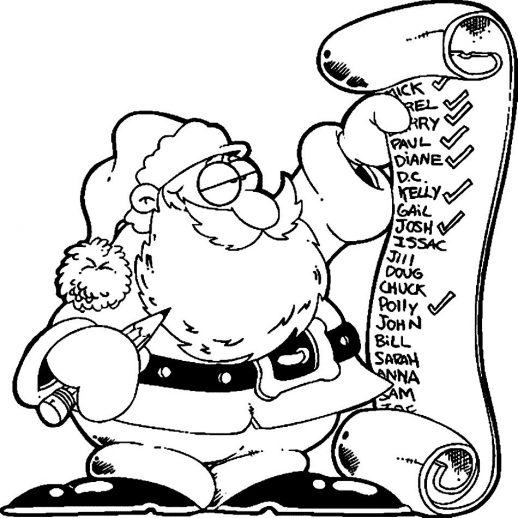 518x518 Santa Check A Christmas Gift List Coloring Pages