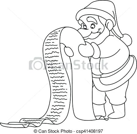 450x441 Santa Christmas List Coloring Page Outlined With Reading A Drawing