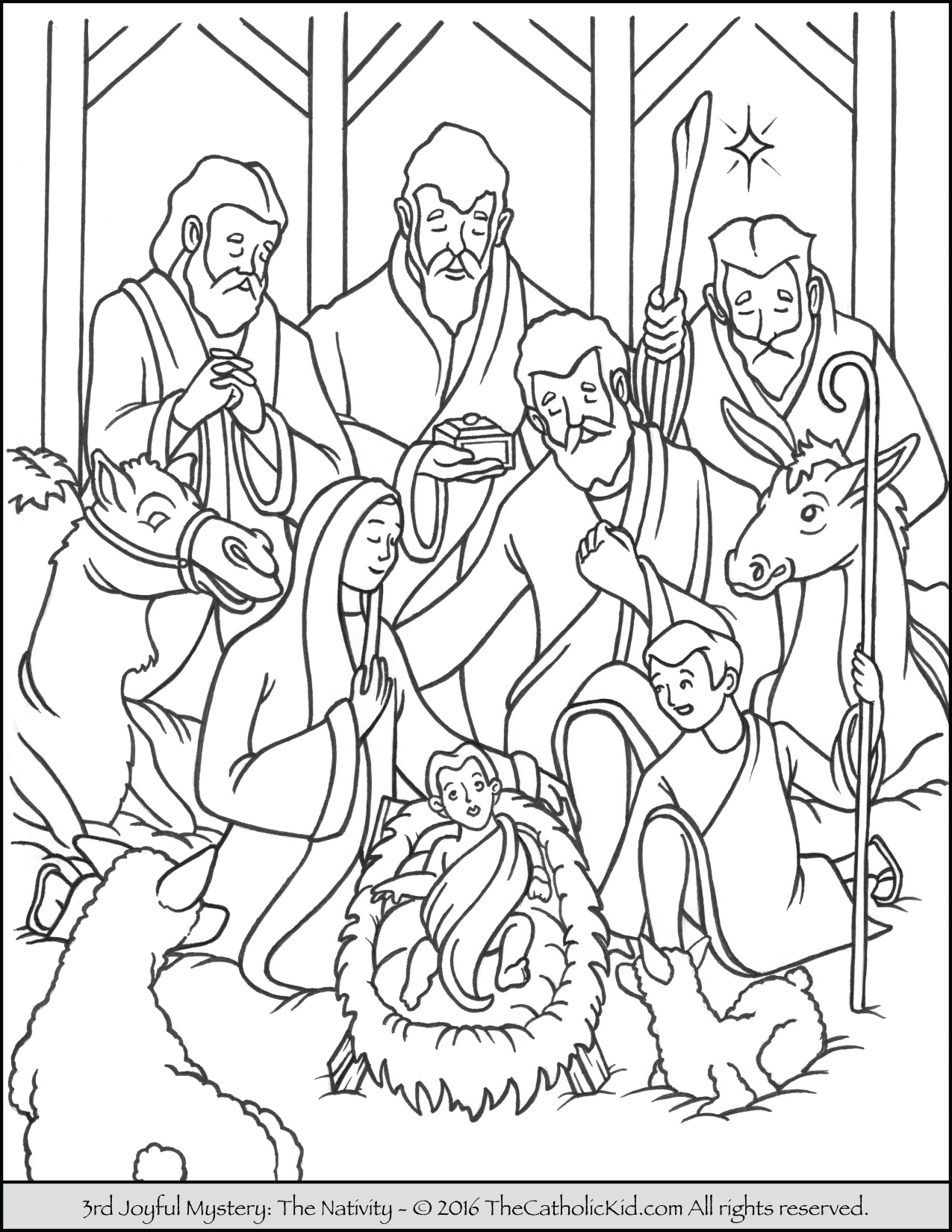 1275x1650 Nativity Coloring Page