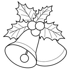 236x236 Decorative Bells And The Christmas Flower Coloring Page
