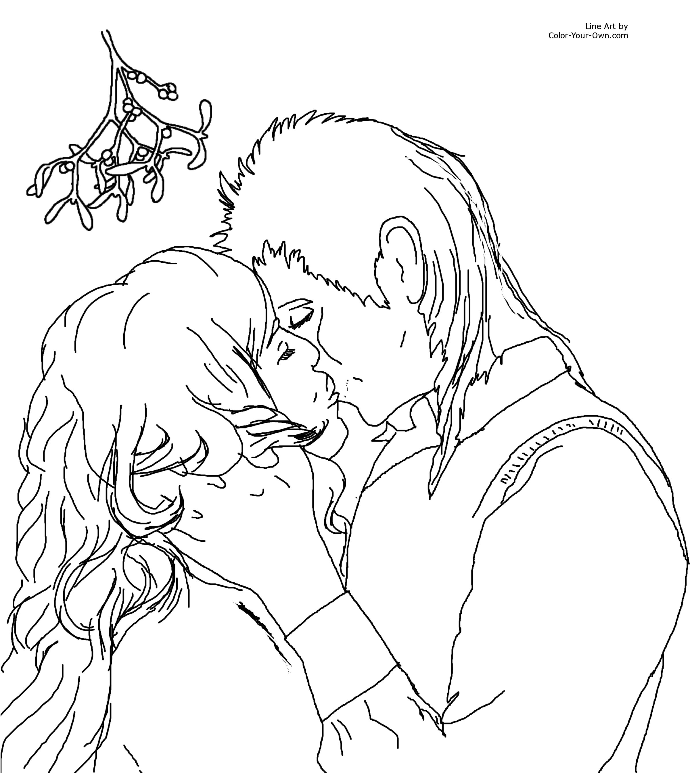 2400x2690 Kiss Under The Mistletoe Coloring Page