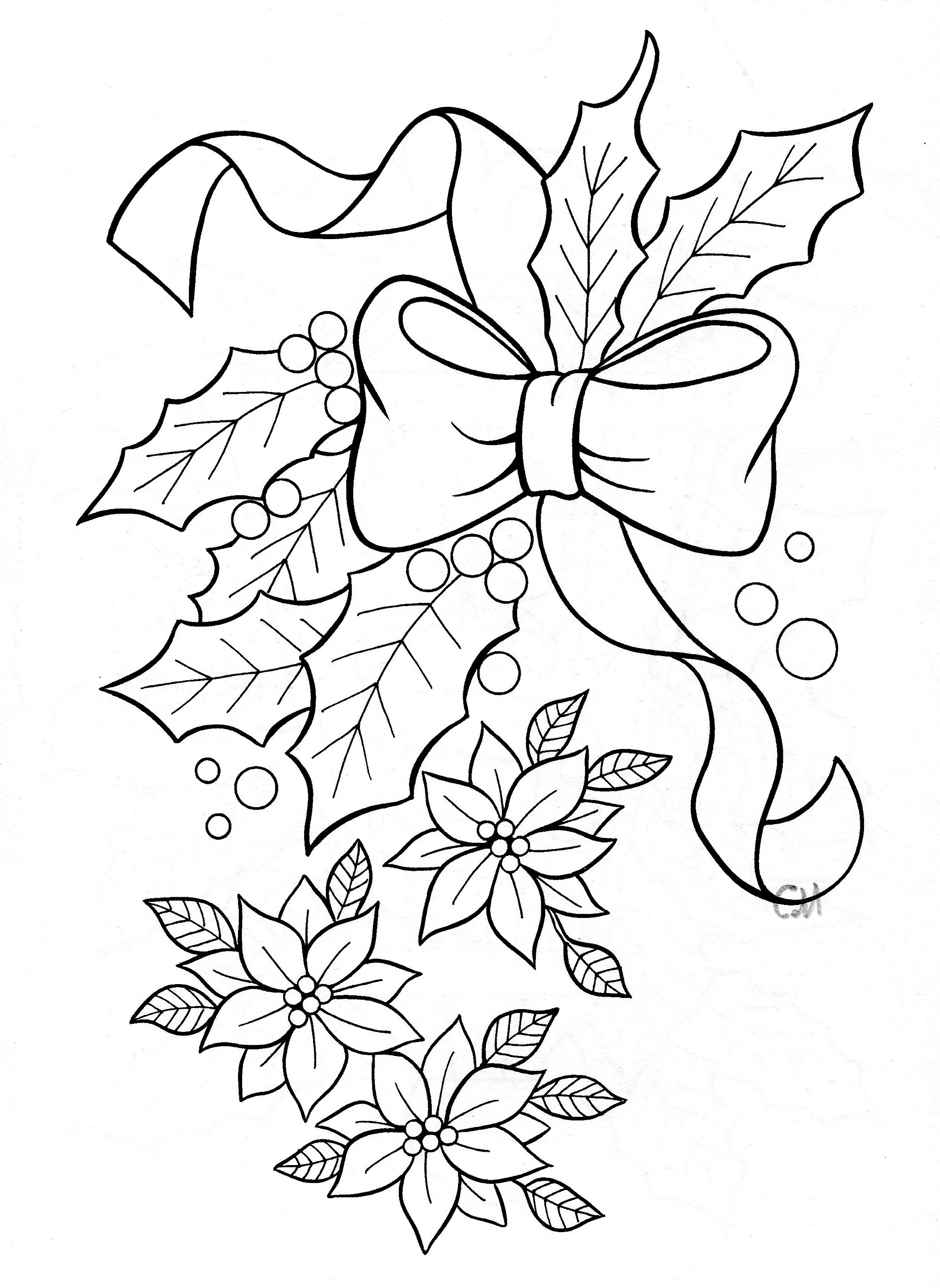 2105x2882 Mistletoe Coloring Pages With Christmas Within