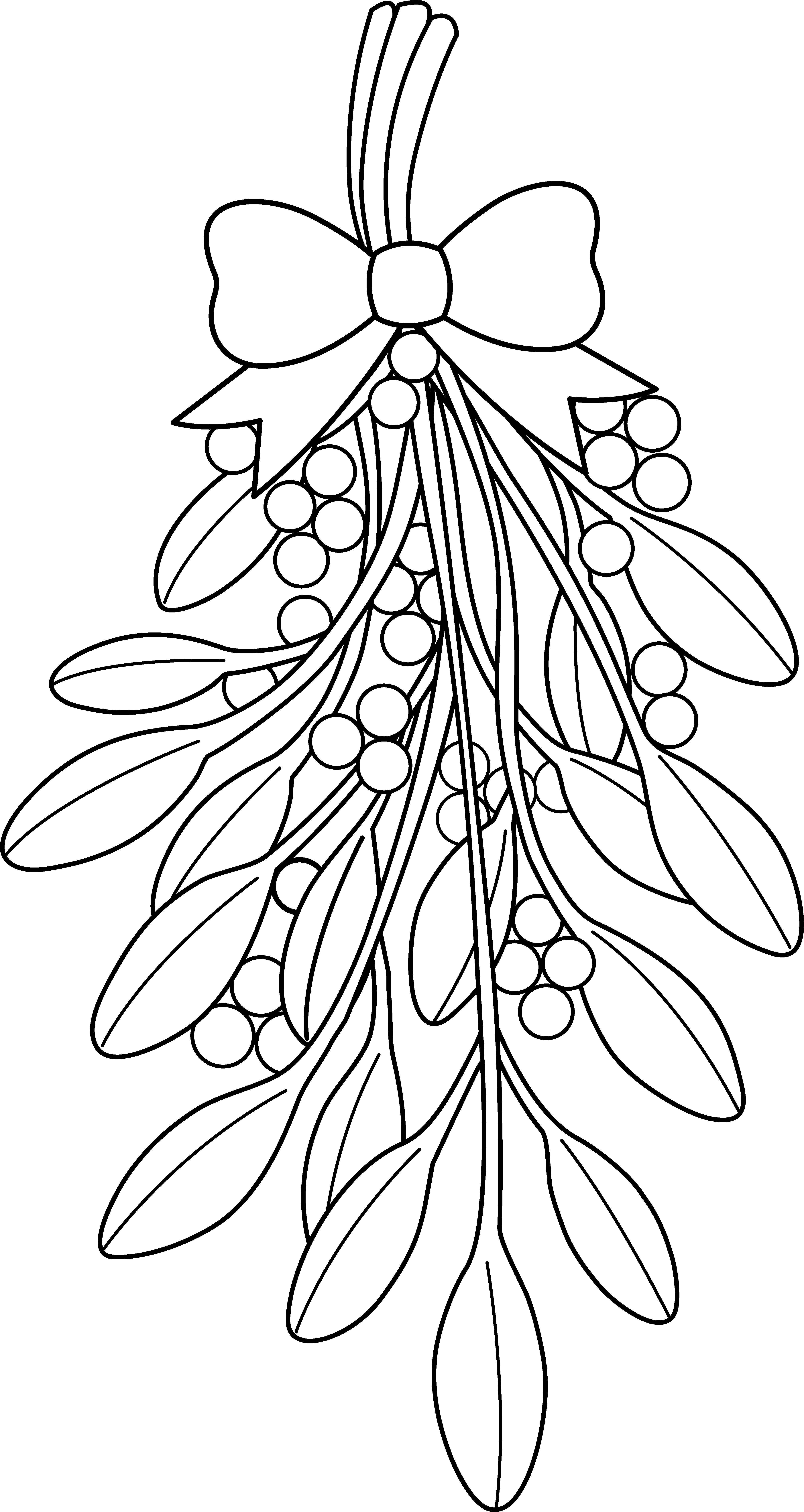 4415x8305 Christmas Coloring Pages Mistletoe Clipart Black And White