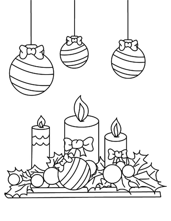 600x775 Christmas Candle Under Mistletoe Coloring Pages