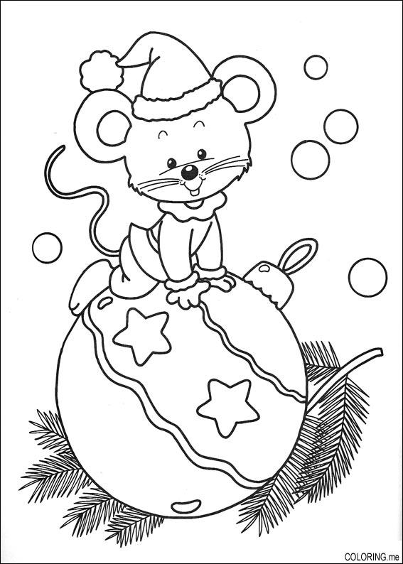 567x794 Coloring Page Christmas Mouse And Ball