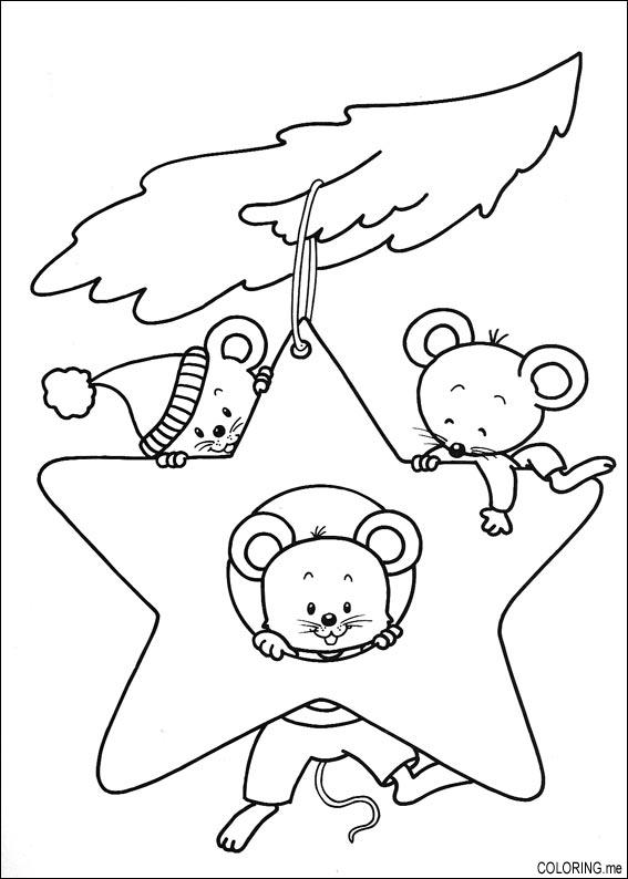 567x794 Coloring Page Christmas Mouse In Stars