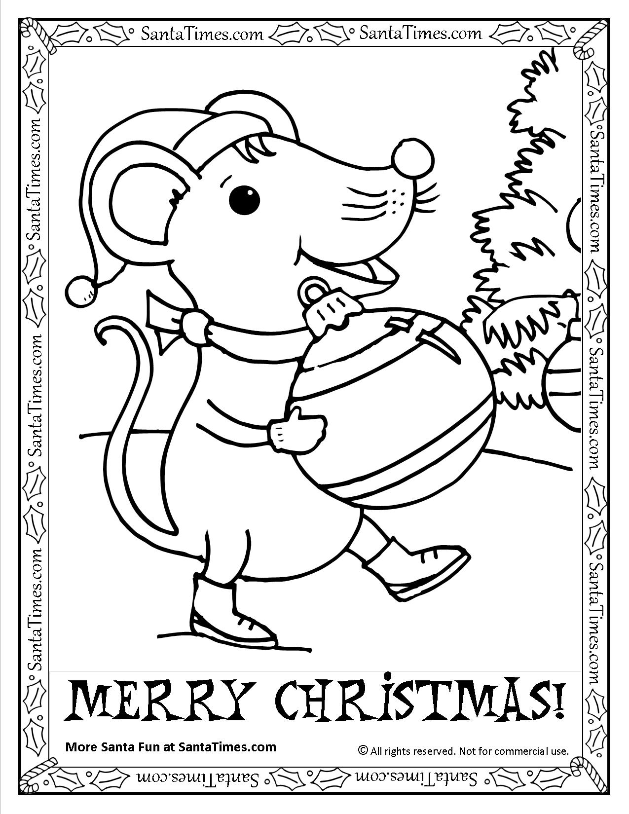 1275x1650 Merry Christmas Mouse Printable Coloring Page