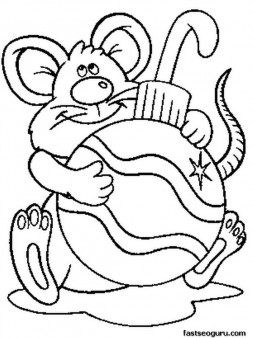 254x338 Printable Mouse With Christmas Decorations Coloring Pages For Kids