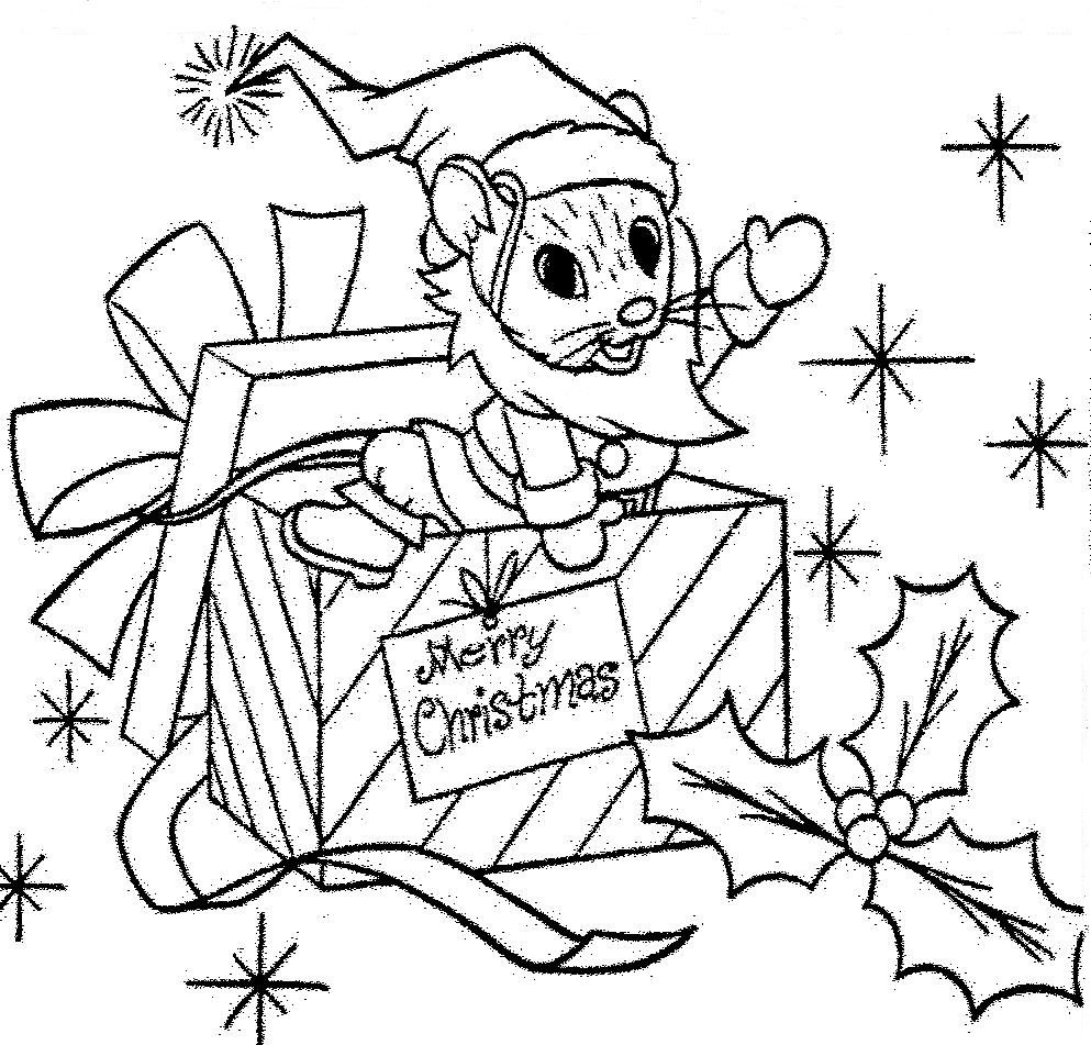 993x951 Santa Mouse Christmas Gift Coloring Page Christmas