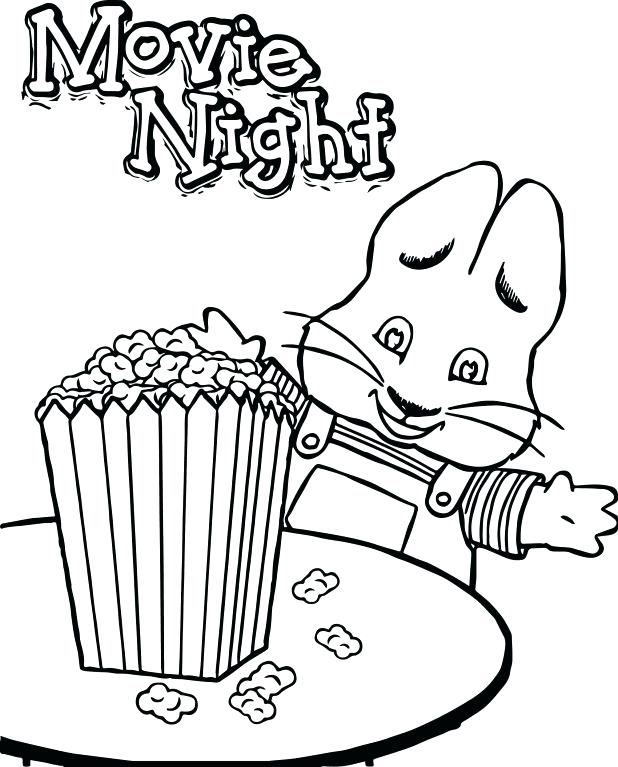 618x767 Max Ruby Coloring Pages Max Ruby Movie Night Eat Popcorn