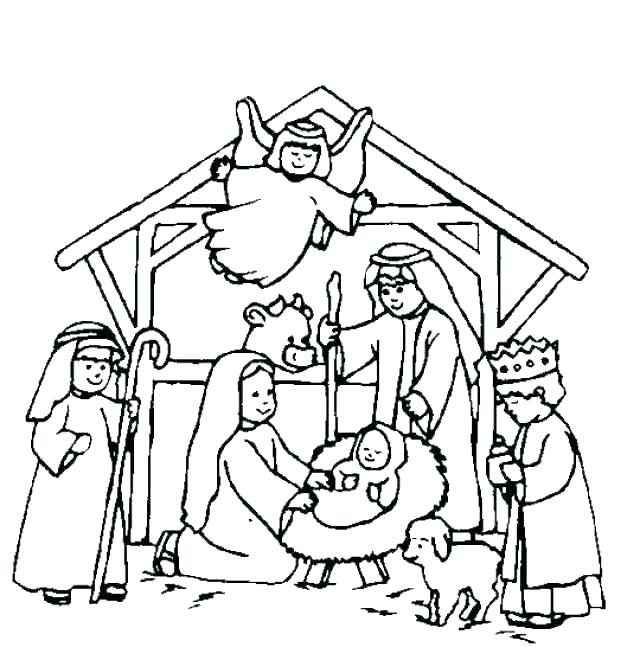 640x647 Christmas Coloring Pages Nativity Nativity Coloring Pages