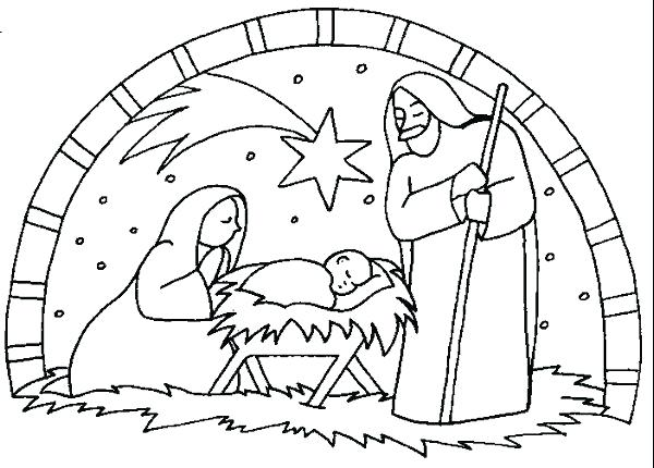 600x430 Christmas Coloring Pages Nativity Nativity Scene Coloring Pages