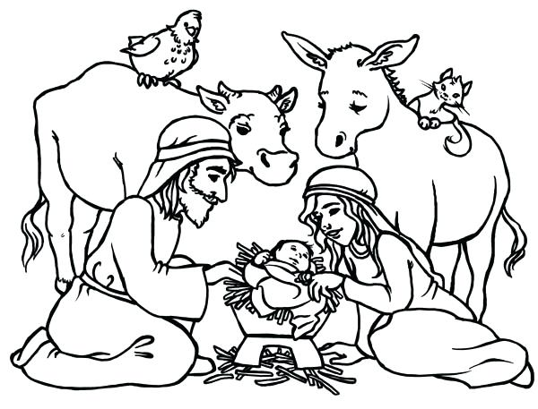 600x457 Christmas Nativity Coloring Pages For Adults Scene Of Nativity